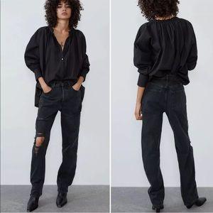 NWT Zara Full Length Distressed Boyfriend Jeans